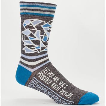 Let Her Win, She's Probably Right Anyway Men's Socks in Blue and Grey