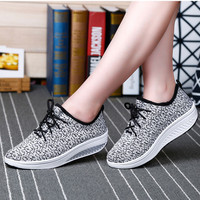 Summer Breathable Stretch Fabric Wedge Heel Lace Up Grey Black Women Casual Shoes  Female  Daily Walking Shoes