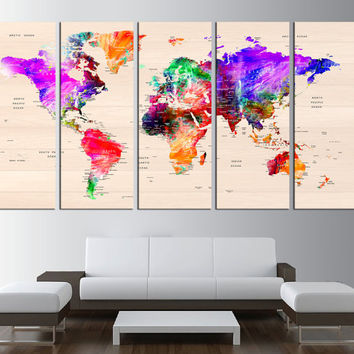 world map push pin, world map with countries canvas print, push pin travel world map wall art print, extra large wall art, push pin map t531