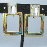Signed Park Lane Vintage Art Deco Revival 1970's Big Square Rhinestone Earrings
