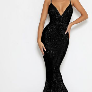 Stealing Hearts Black Sequin Sleeveless Spaghetti Strap Plunge V Neck Backless Mermaid Maxi Dress
