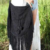 Pom Pom Crochet Bag - Moonless Black - Bohemian Diesel Marketplace