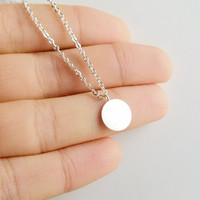 Silver Minimalist Round Plate Pendant Necklace Simple For Women