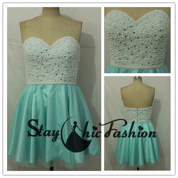Pearls Beaded Top Blue Strapless Sweetheart Girls Cute Prom Homecoming Dress 2015