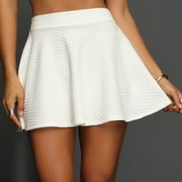 Sale-winter White Textured Skater Skirt