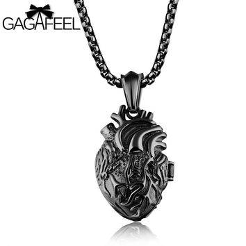 GAGAFFEL Heart Pendants Necklaces  Men Jewelry 316L Stainless Steel 3 Colors