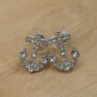 Silver Anchor Earrings - Earrings - Rhinestone Anchor Earrings