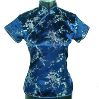 Special Offer Navy Blue Womens Blouse Satin Shirt Top Mujeres Camisa Chinese Traditional Clothing Flower Size S M L XL XXL A0025