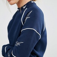 Reebok Classics High Neck Sweatshirt With Vector Print In Navy at asos.com