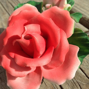 Capodimomte Rose with One Bud: PORCELAIN FLOWER ART