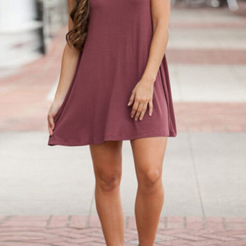 Sleeveless Knit Trapeze Dress