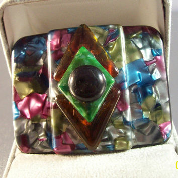 Vintage Art Deco French Celluloid Brooch, End of Day Multi Color, Geometric Layered France