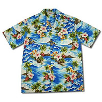 Lagoon Blue Hawaiian Cotton Aloha Sport Shirt