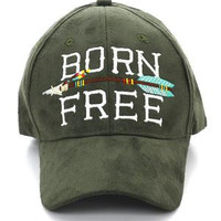 Faux Suede Born Free and Arrow Ball Cap