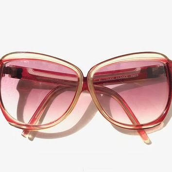 BALENCIAGA!!! Vintage 1970s 'Balenciaga' ruby red and crystal framed sunglasses with n