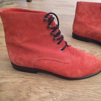 Vintage RED Leather Granny Pixie Boots ~ Woman's Size 7 Lace up Booties Ankle boots