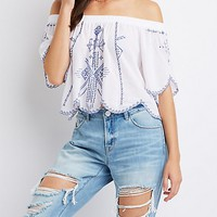 Floral Embroidered Off-The-Shoulder Top | Charlotte Russe