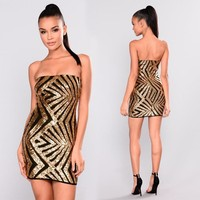 Sequins Strapless Slim Bodycon Short Dress