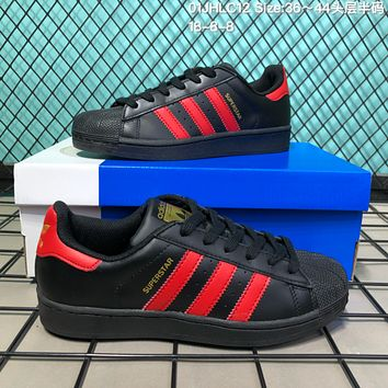 HCXX A123 Adidas Superstar Fashion Casual Campus Shoes Black Red