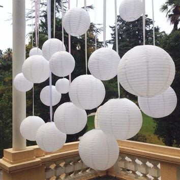 10Pcs/lot 6-8-10-12-14-16 Inch White Chinese Paper Lanterns For Party and Wedding Decoration White Hanging Paper Ball Supplies