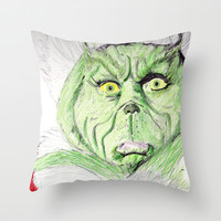 Grinch Throw Pillow by DeMoose_Art