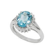 .925 Sterling Silver Blue Topaz & Diamond Ring