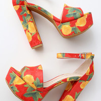 Avenue 2 Red Lemon Print Platform Ankle Strap Heels