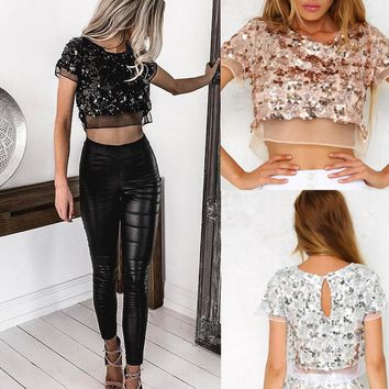 New Fashion Sexy belly hollow sequins lace splicing top 3 color