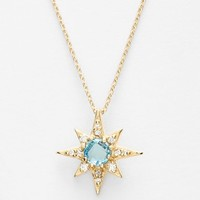 Women's Anzie 'Aztec' Topaz & Diamond Starburst Pendant Necklace - Blue Topaz/ Yellow Gold