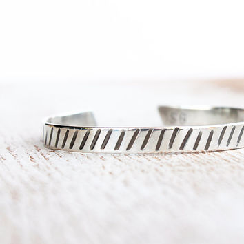 Geometric Sterling Silver Lines Cuff / modern tribal stacking bracelet / oxidized .925 hammered bangle / minimal gift for her