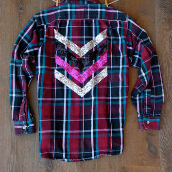 Boyfriend Flannel Shirt with Sequin Chevron Patch Military Inspired Flannel Women's  1D Liam Payne Tattoo Grunge Hipster Plaid Flannel Shirt