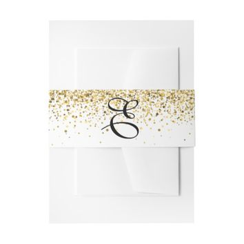 Gold Glitter Wedding Invitation Band Invitation Belly Band