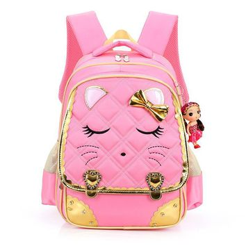 Cute Bow Kids Backpack Girls School Waterproof Nylon Girl Orthopedic School Bag Cartoon Backpack for School Girls