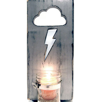 Wall Vase (Lighting Bolt Cloud) with Mason Jar Vase/Candle holder (Pictured in Metallic Silver) Pine Wood Sign Wall Decor Rustic Americana