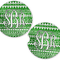 Green Aztec Tribal Car Cup Coaster Glitter Look, Personalized Monogrammed Cup Holder, Custom Auto Gift, Sandstone Coaster, gift for her