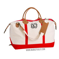 Monogrammed Red Sunshine Satchel Duffel Bag | Marley Lilly