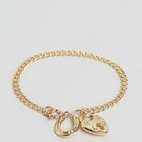ASOS Padlock and Lucky Charm Bracelet at asos.com