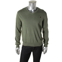 Polo Ralph Lauren Mens Pima Cotton Ribbed Trim V-Neck Sweater