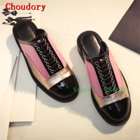 Choudory 2017 New Chunky Med Heels Slides Round Toe Casual Mules Woman Slippers Mixed Colors Lace up Summer Shoes Women Pumps
