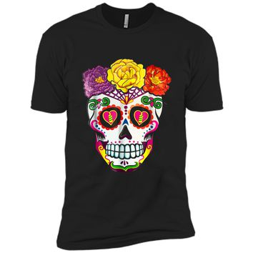Colorful Flower Sugar Skull Day Of The Dead Costume  2 Next Level Premium Short Sleeve Tee