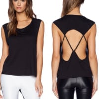 New summer sexy Women solid color backless T-shirt -0524