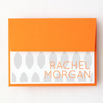 Personalized Stationary Custom Stationery Grey and Orange Ikat Pattern Tribal Print Bridesmaids Gifts Gray Thank You Notes / Set of 10