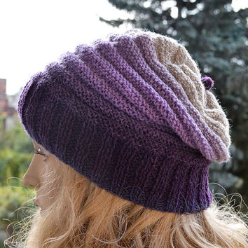Knitted multicolor kauni lace beani cap/hat purple,gray