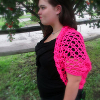 Hot Pink Shrug, Summer Crochet Shrug, Beach Cover Up, Women's Neon Pink Crochet Summer Jacket