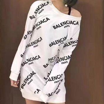 Balenciaga Fashion Women Cotton Print Long Sleeve Mini Dress(3-Color) White I