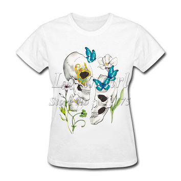 2017 New Fashion Women's Skeleton Love Design Novel T shirt popular Tops Fashion Lady Casual Short Sleeve Tees