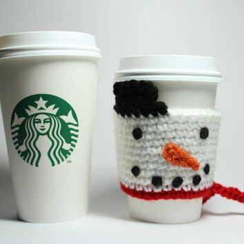 Snowman coffee cozy, Christmas Coffee Sleeve, Frosty cup sleeve, Holiday Crochet Can Cozy, Stocking Stuffer