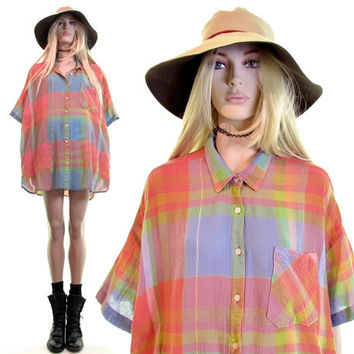 WOOLRICH plaid shirt|gauze shirt|madras plaid shirt dress|vintage 90s shirt|sheer top|preppy shirt dress|grunge shirt|90s grunge|oversized