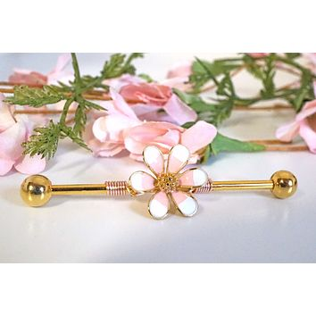 Rose Gold Marigold Flowers 16g or 14 Gauge Industrial Barbell