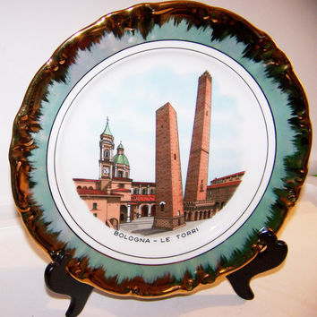 "Vintage Bavarian Collector Plate, Towers of Bologna Italy, 10"" wide, Gold Plate Rim, Medieval Towers of Bologna, Marked Bavaria Germany"